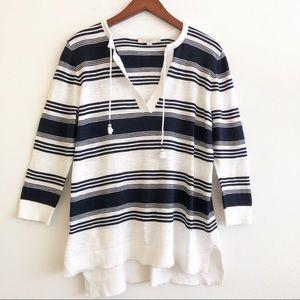 LOFT Striped Tassel Tie Sweater SZ XL